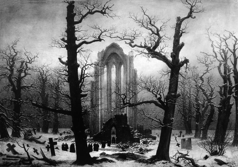 Caspar David Friedrich - Monastery Graveyard in Snow (1819)